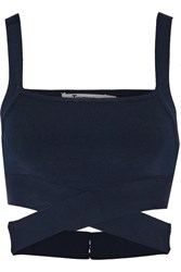 Alexander Wang Cropped Stretch Knit Top Blue