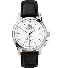 Links Of London 6020.1145 Regent Stainless Steel And Leather Watch Black