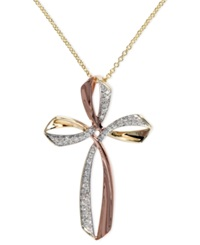Effy Collection Pave Rose By Effy Diamond Triple Cross Pendant 1 6 Ct. T.W. In 14K Gold And Rose Gold