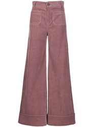 Roberto Collina High Waisted Flared Trousers Pink