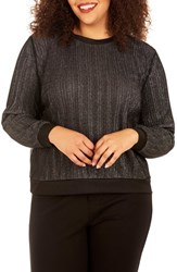 Rebel Wilson X Angels Plus Size Women's Glitter Knit Top Silver Black