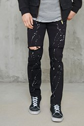 Forever 21 Paint Splatter Slim Fit Jeans Black White