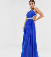 Forever Unique Exclusive Embellished Maxi Gown With Open Back In Cobalt Pink