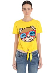 Moschino Bear Print Cotton T Shirt W Tie Front