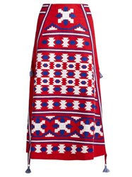 Vita Kin Mexico Embroidered Linen Skirt Red Multi