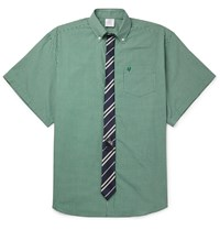 Vetements Oversized Tie Trimmed Checked Cotton Shirt Green