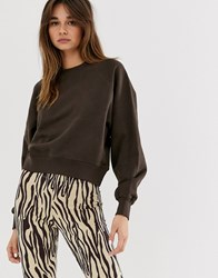 Weekday Oversized Sweatshirt In Organic Cotton In Brown