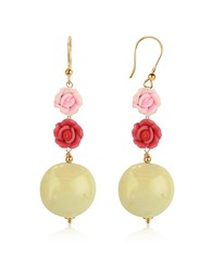 House Of Murano Rose Glass Drop Earrings Pink