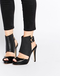 Daisy Street Cut Out Ankle Strap Heeled Sandals Black
