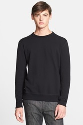 Todd Snyder Crewneck Sweater With Leather Elbow Patches Black