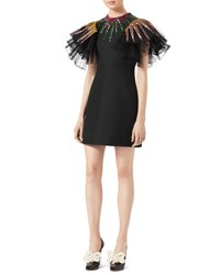 Gucci Sequin Embroidered Tulle Dress Black
