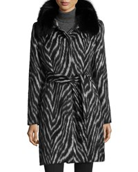 Sofia Cashmere Fur Collar Zebra Print Belted Coat Women's