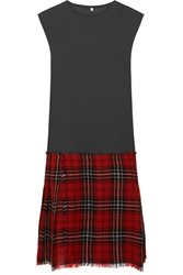 R 13 Slub Jersey And Tartan Wool Blend Dress Red