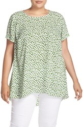 Vince Camuto Plus Size Women's 'Falling Cubes' Print Short Sleeve High Low Blouse Summer Green