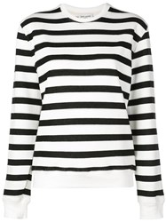 Saint Laurent Crew Neck Striped Sweatshirt White