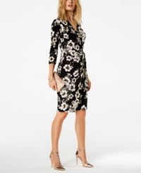 Inc International Concepts Floral Print Wrap Dress Created For Macy's Black