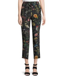 Red Valentino Flora And Fauna Floral Print Silk Track Pants Black