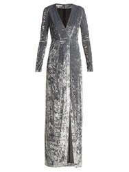 Galvan Cloud Hammered Velvet Gown Silver