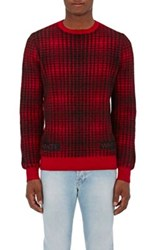 Off White C O Virgil Abloh Men's Buffalo Checked Wool Sweater Red