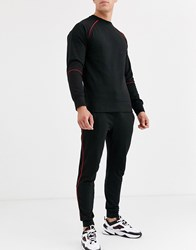 Another Influence Slim Fit Jogger With Red Piping Black