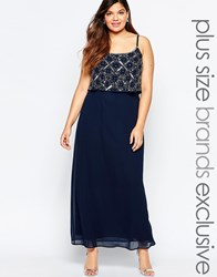 Lovedrobe Double Layer Embellished Maxi Dress Navy