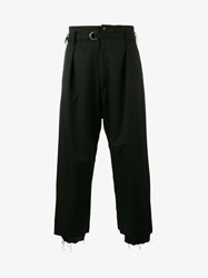 Sulvam High Waisted Cropped Trousers Black