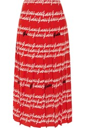 Gucci Pleated Printed Silk Midi Skirt Red