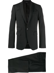 Les Hommes Fitted Single Breasted Suit Black