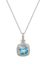 Macy's 10K White Gold Necklace Blue Topaz 2 Ct. T.W. And Diamond 1 8 Ct. T.W. Cushion Cut Pendant