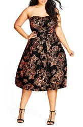 City Chic Plus Size Women's Floral Outline Fit And Flare Dress