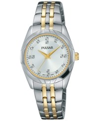 Pulsar Women's Night Out Two Tone Stainless Steel Bracelet Watch 28Mm Ph8145