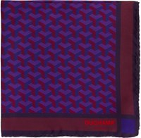 Duchamp Men's Geometric Patterned Pocket Square Pink