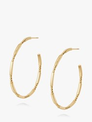 Daisy London Stacked Bead And Bar Thin Hoop Earrings Gold