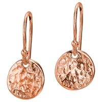 Dower And Hall Textured Disc Drop Earrings Rose Gold