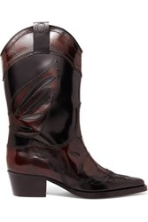 Ganni Marlyn Embroidered Patent Leather Boots Black