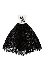 Oscar De La Renta Floral Tea Length Gown Black White
