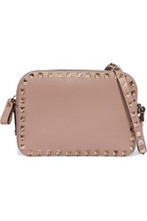 Valentino Garavani The Rockstud Textured Leather Shoulder Bag Blush