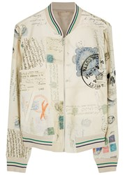 Alexander Mcqueen Letters From India Jersey Bomber Jacket Cream