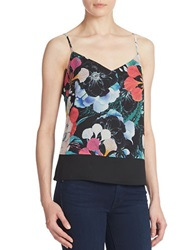 French Connection Floral Print Colorblocked Cami Black Multi