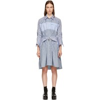 Carven Blue Stripe Mix Shirt Dress