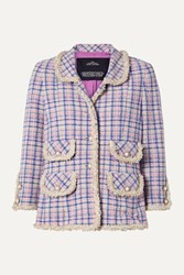 The Marc Jacobs Frayed Checked Cotton Tweed Jacket Cream