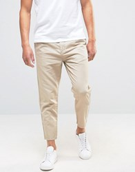 Selected Homme Pleated Cropped Chinos In Linen Sand Beige