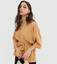 Asos Design Tall Textured Oversized Top With V Neck And Tie Waist Brown