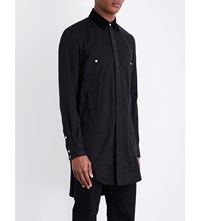 The Soloist Velvet Collar Regular Fit Cotton And Silk Blend Shirt Black