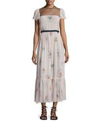 Red Valentino Short Sleeve Framed Floral Maxi Dress Light Pink