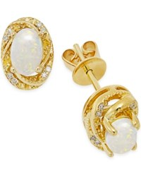 Macy's Opal 1 2 Ct. T.W. And Diamond Accent Earrings In 14K Gold Over Sterling Silver