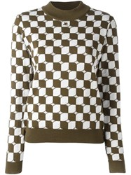 Courreges Checked Sweater Green