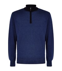 Peter Millar Needle Stripe Knitted Zip Sweater Male