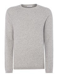 Selected Men's Homme Crew Neck Knitted Jumper Grey