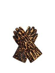 Burberry Leopard Print And Check Calf Hair Gloves Leopard